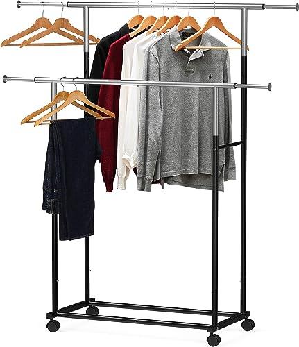 new arrival Simple online sale wholesale Houseware Standard Double Rod Garment Rack, Black sale
