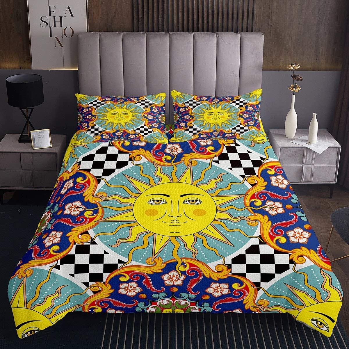 Feelyou Tribal Max 51% OFF Bedspread Sun and Max 72% OFF Moon Boys Gir Kids for Coverlet