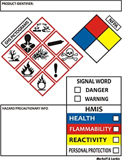 SDS OSHA Labels for Chemical Safety Data 4 x 3 Inches | Roll of 250 MSDS Stickers with GHS Pictograms and Perforated Edges for Easy Separating | HMIS & Hazard Compliant