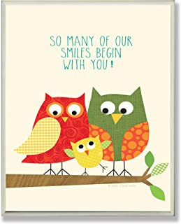 The Kids Room by Stupell Owl Family Smiles Begin with You Rectangle Wall Plaque, 11 x 0.5 x 15, Proudly Made in USA
