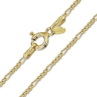 Amberta 18K Gold Plated on 925 Sterling Silver 1.5 mm Figaro Chain Necklace