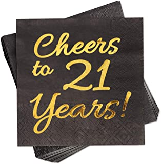 21st Birthday Decorations Party Supplies Cocktail Napkins Black 50 Pack,5