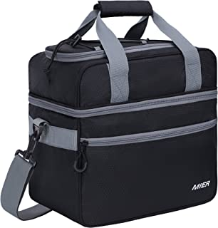 MIER Double Compartment Cooler Bag Large Insulated Bag for Lunch, Picnic, Beach, Grocery, Kayak, Travel, Camping, Black Grey