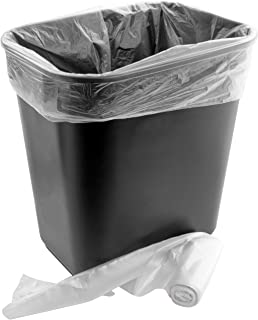 Space-Saving Trash Can and 100x 4 Gal. Leak-Proof Liners Set. Small Black Plastic Wastebasket and Clear Bags Great for Bathroom, Kitchen or Home Office. Garbage Bin Fits Under Most Desks and Cabinets
