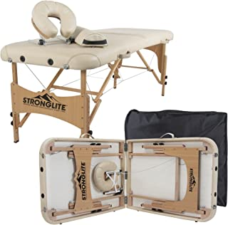 STRONGLITE Portable Massage Table Olympia - Double Knobs, Package w/ Adjustable Face Cradle, Face Pillow, Half Round Bolster & Carry Case (28x73