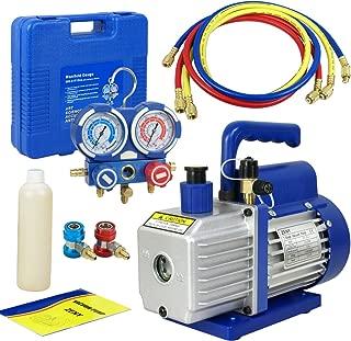 F2C 3.5CFM 1/4HP HVAC Air Rotary Vacuum Pump Kit with/AC Refrigeration Gauge Set
