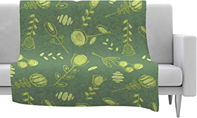 Kess InHouse Nika Martinez Golden Dots in Black Yellow Fleece Throw Blanket 80 by 60-Inch 80 X 60