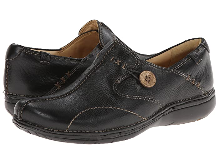 Details about LADIES CLARKS LEATHER UNSTRUCTURED CASUAL FLAT SLIP ON SHOES SIZE UN LOOP 2 WALK