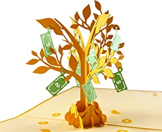 iGifts And Cards Money Tree 3D Pop Up Greeting Card - Good Luck, Wealth, Prosperity, Cute, Half-Fold, Happy Birthday, Retirement, Wedding, Housewarming, Graduation, Thank You, New Business, New Job