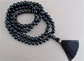 IndianStore4All Black Hakik (Agate) Japa Mala 108 +1 Guru Beads Unknotted Japa Rosary