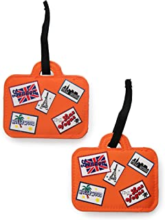 Miamica 2 Piece Set Luggage Tag, Assorted Styles, Orange, One Size