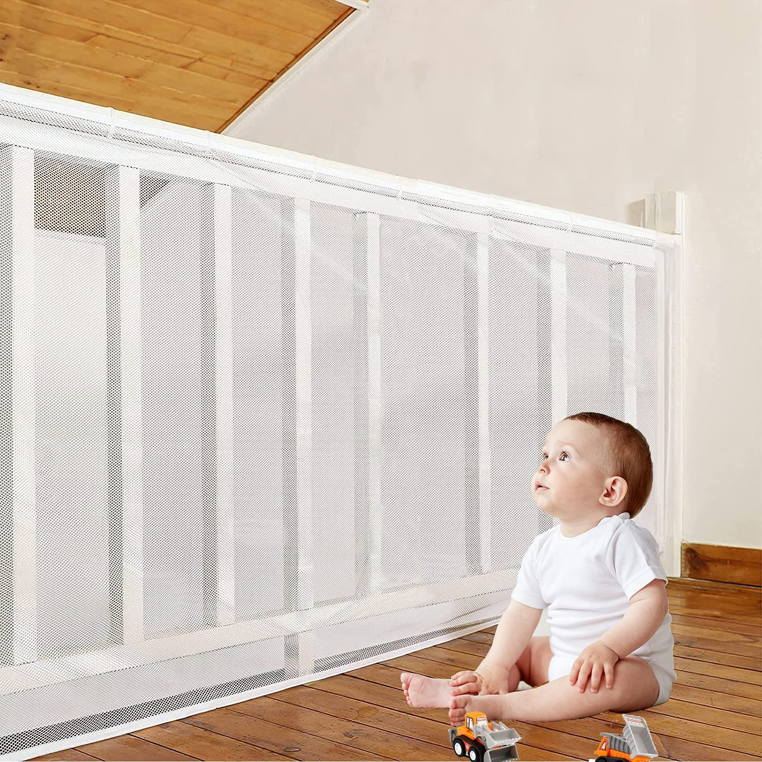 Banister Guard, Child Safety Net 10ft x 2.5ft, Baby Proofing Stairway Net, Balcony Banister Guard, Child Proof Stair Guards Mesh, Use for Kids Pets Toys Safety