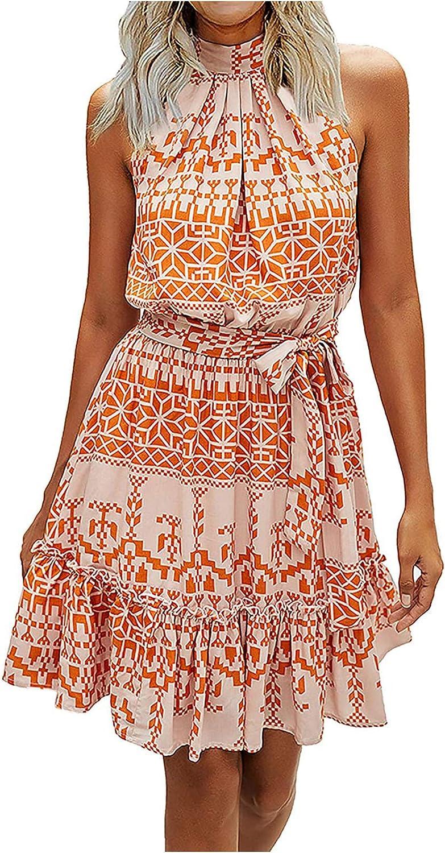 Women's Casual Halter Neck Sleeveless Floral Long Maxi Dress Loose Ruffle Sundress with Belt