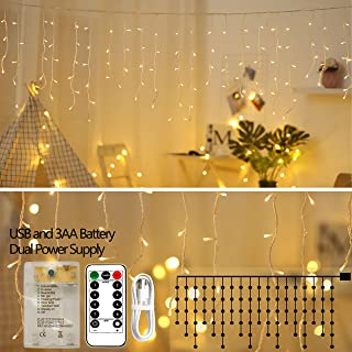 XDlight Upgrade Icicle Lights,10 ft 90 LED Window Curtain Lights with Remote Control,8 Modes Powerd by Battery and USB,Waterproof Fairy String Light for Indoor & Outdoor,Holiday,Party,Christmas