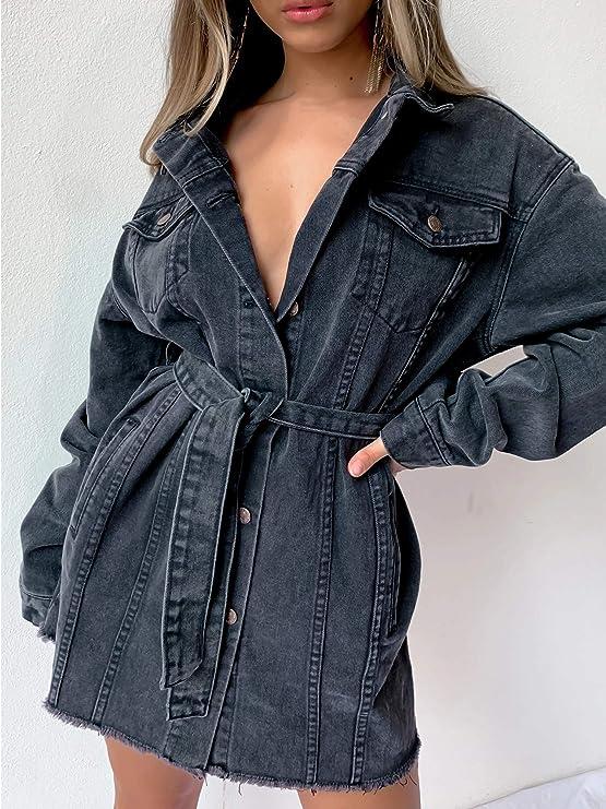 Black jean coat with belt for women | Black oversized denim jean jacket for fall wardrobe | street style classic denim jacket