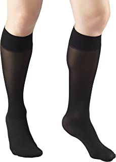 Truform Sheer Compression Stockings, 8-15 mmHg, Women's Knee High Length, 20 Denier, Black, Large