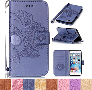 iPhone 5/5S Case, iPhone SE Case, Firefish [Card Slots] [Kickstand] Flip Folio Wallet Shell Scratch Resistant Case Emboss Style Protective Cover for Apple iPhone 5/5S/SE- Skull-L