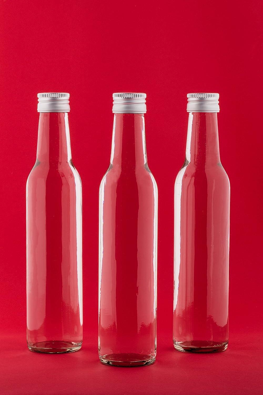 tappo a vite 12 bottiglie di vetro da 250 ml rettangolari 12 etichette con penna bottiglie vuote
