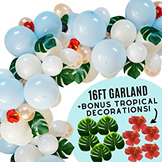 Unicorn Glam DIY 16ft Hawaiian Balloon Garland Arch Kit for Engagement, Wedding, Birthday, Baby Shower Luau Party Decorations, 100pc White, Blue, Rose Gold Latex Balloons and 15 Tropical Palm Leaves