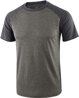 Mens 4 Way Stretch Soft Quick Dry Fit Short Sleeve Raglan Tech T Shirts