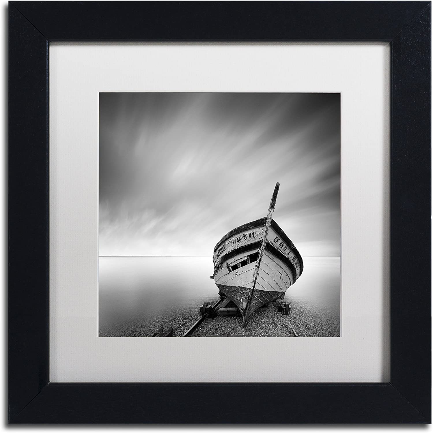 Trademark Fine Art Boat I by Moises Levy in White Matte and Black Framed Artwork, 11 by 11Inch