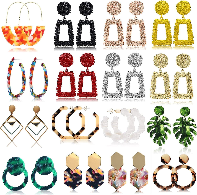16 Pairs Gold Rectangle Geometric Dangle Earrings Fashion Acrylic Statement Drop Earrings for Women Girls Gift FIFATA COLLECTION