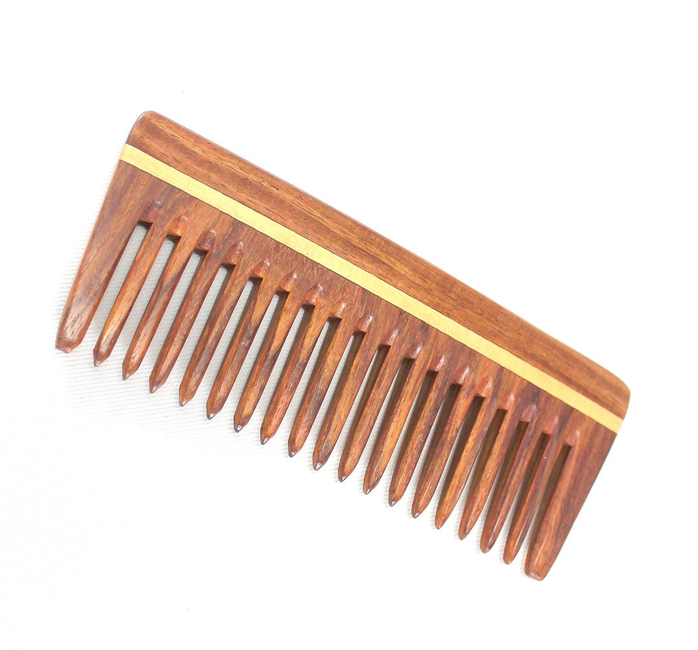 ヘクタール残る表現eSplanade男性用&女性用木製櫛 - インディアンローズウッドの手作り静電気防止頭髪、ひげ、フリーキャリングポーチ付きの口コキ