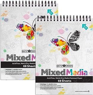 Brite Crown Mixed Media Sketch Pad 2-Pack – 9 x 12 Sketch Book 120 Sheets (60 Sheets Per Pad) Sketchbook Art Paper for Pen...