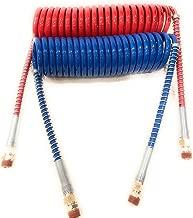 Euro America 15' RED and Blue Coil Coiled AIR LINE Hose Set - Trailer Brake - 1/2