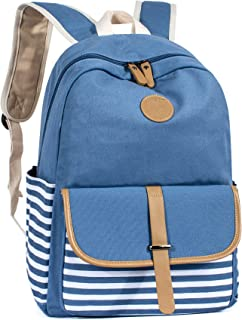 Canvas School Backpack for Girls Laptop Bag Shoulder Handbag Light Blue