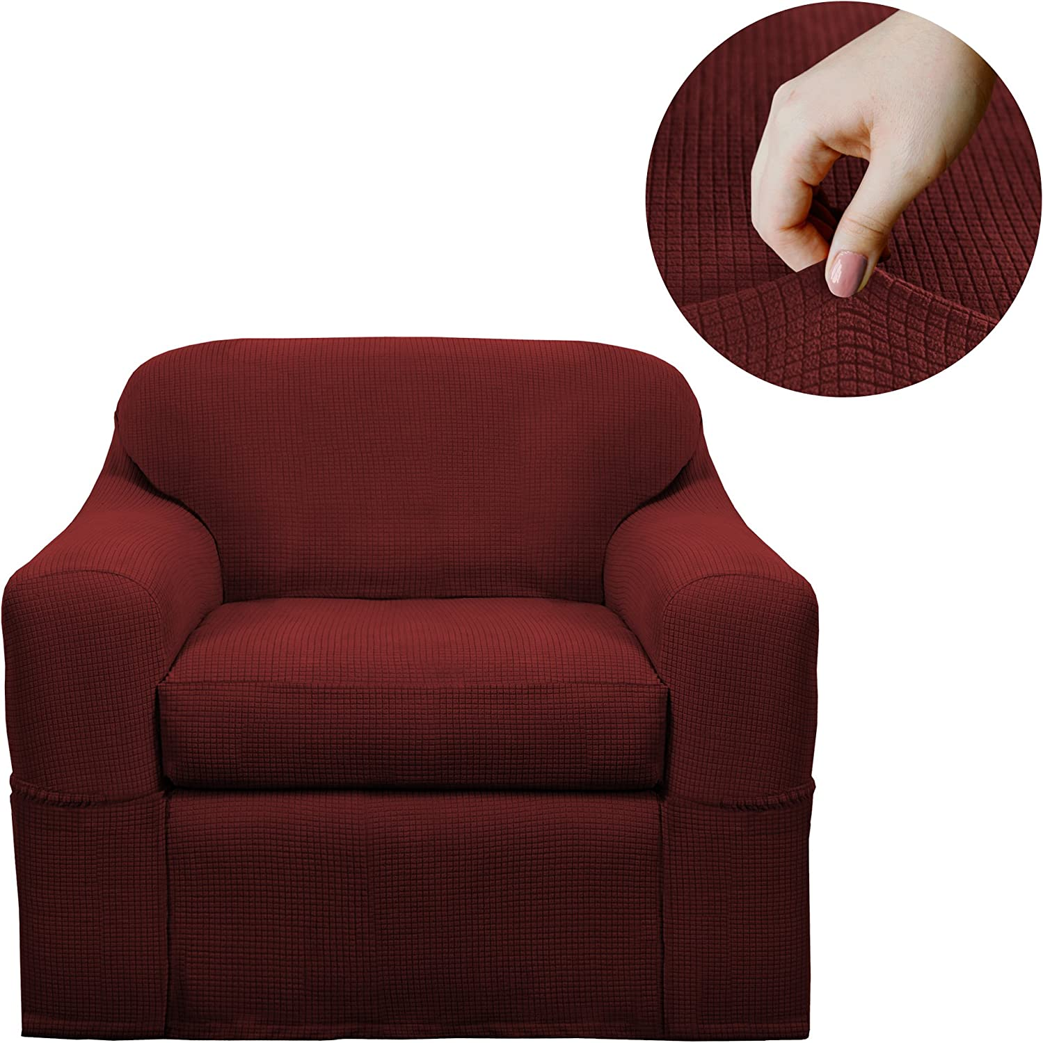 Maytex Reeves Stretch 2 Piece Arm Chair Furniture Cover Slipcover, Red