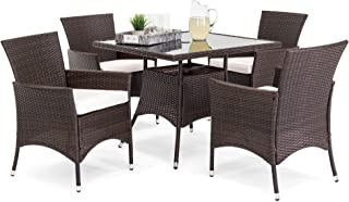 Best Choice Products 5-Piece Indoor Outdoor Wicker Patio Dining Set Furniture w/Square Glass Top Table, Umbrella Cut Out, 4 Chairs - Brown
