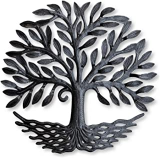 New Small Tree of Life, Metal Garden Tree, Rustic Farmhouse, Hang Indoor or Outdoor, Handmade in Haiti, 17 in. x 17 in.