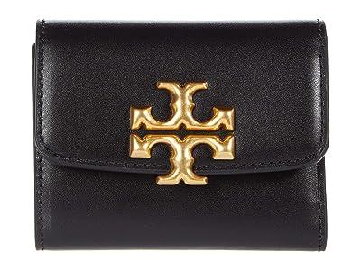 Tory Burch Eleanor Compact Wallet (Black) Handbags