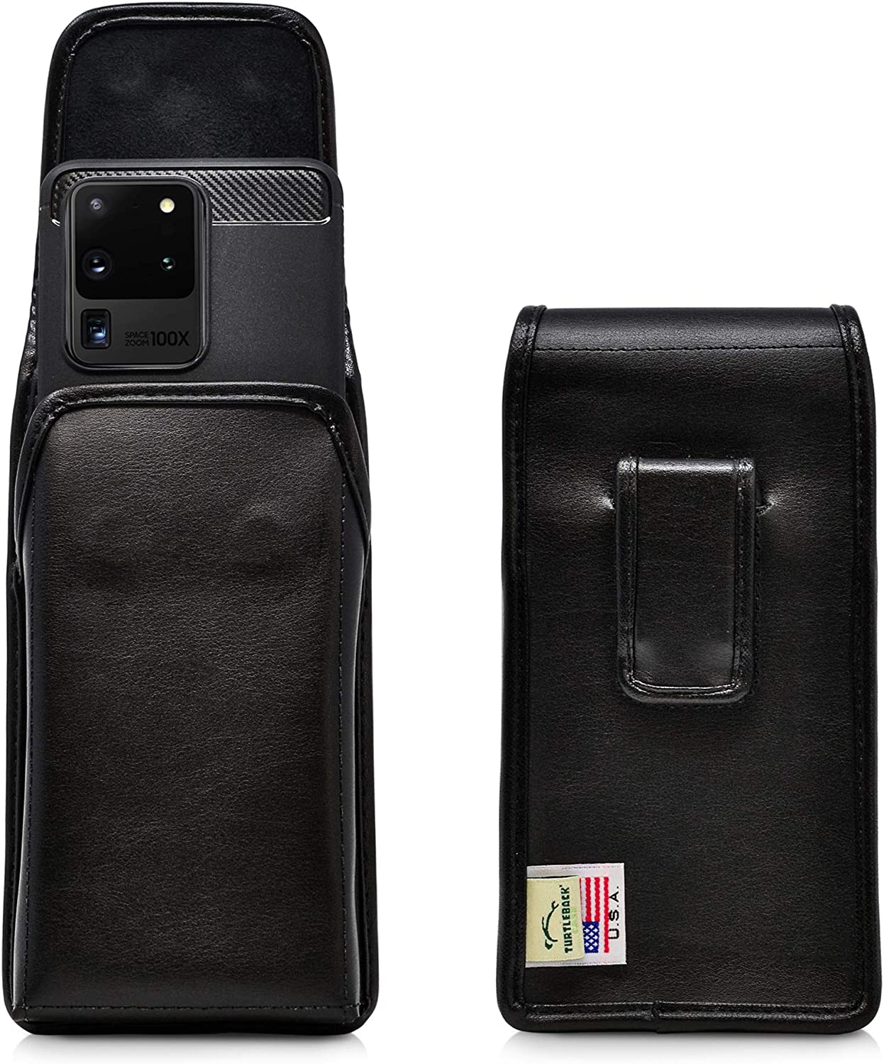 Turtleback Holster Designed for Galaxy S20 S21 Ultra (2020) Vertical Belt Case Black Leather Pouch with Executive Belt Clip, Made in USA