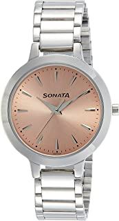 Sonata Women's Fashion Casual Round Rose Gold Dial Silver MetalStrap Watch