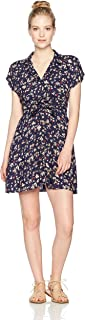 Angie Women's Printed Crochet Back Button Front Short Sleeve Dress