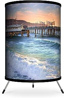Lamp-In-A-Box TRI-FAR-SDGRE Featured Artists Sean Davey Green Feather Tripod Lamp