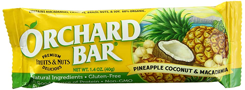 Orchard Bars Pineapple, Coconut & Macadamia Bars, 1.4-Ounce Bar, 12-Count