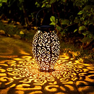 2 Pack Solar Lanterns, OxyLED Christmas Solar Garden Lights Outdoor, Hanging LED Lanterns Solar Powered with Handle Waterp...
