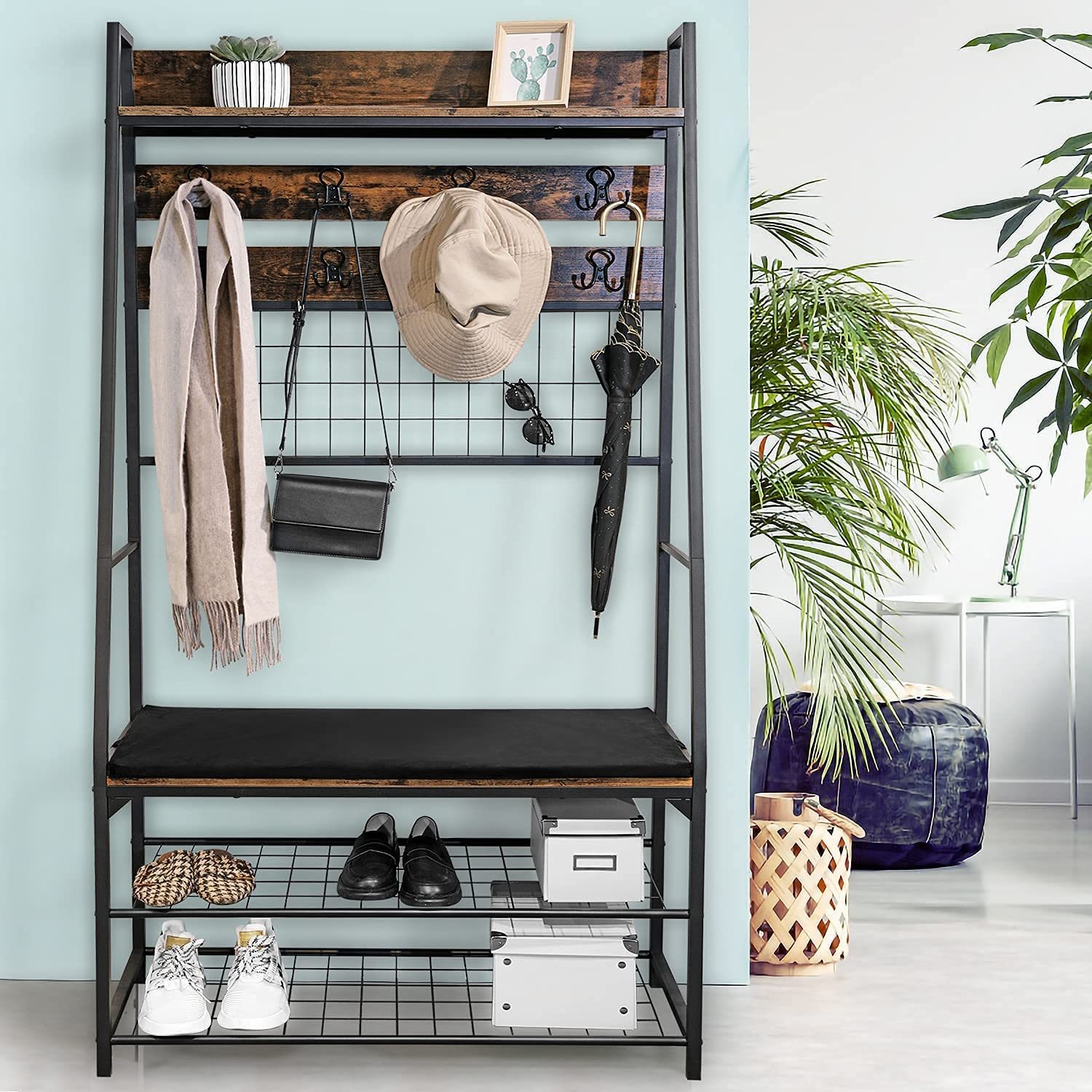 Entryway Hall Trees, E&D FURNITURE Entryway Bench with Coat Rack with Shoe Rack Entryway Home Furniture Coat Shoe Rack Bench 5-in-1 Clothes Rack Mudroom Bench with Storage and Hooks