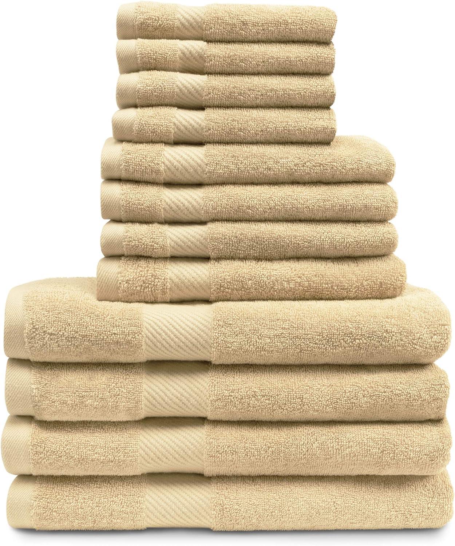 Ultra-Soft 12-Piece Towel Set Egyptian GSM Medium 希少 Cotton 未使用 500