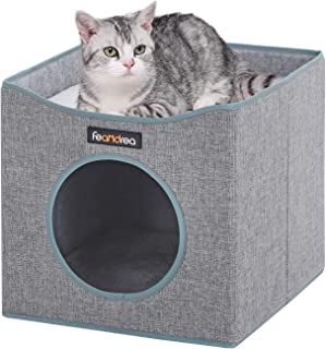 FEANDREA Foldable Cat Condo, Cube Cat House with Lying Surface and 2 Reversible Cushions, Cat Hiding Place, Cat Cave, Linenette Fabric, Felt and Engineered Wood, Scratch Resistant, Gray UPCB04G