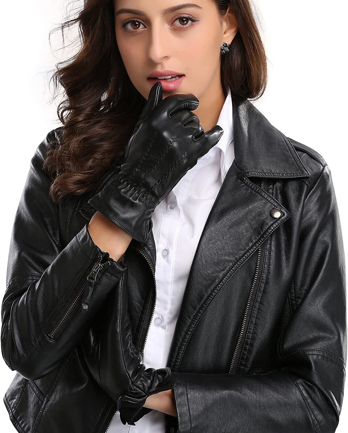 Womens Winter Leather Gloves,Touchscreen With Cashmere/Fleece Lining