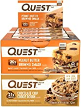 Quest Nutrition Protein Bar Chocolate Chip Smash-Up (Smashbar and Chocolate Chip Cookie Dough). Low Carb Meal Replacement Bar with 20 gram Protein. High Fiber, Gluten-Free (24 Count)