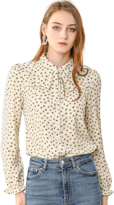 Allegra K Women's Point Collar Tie Bow Neck Button Down Blouse Printed Shirt