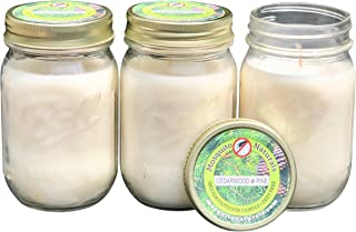 Natural Cedarwood and Pine Mosquito Repellent Candle (Set of 3) Indoor/Outdoor - 88 Hour Burn - Naturally Repels Insects with Essential Oils, Citronella Soy, Ball Mason Jar, Made in USA