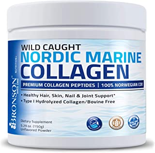 Bronson Marine Collagen Peptides Hydrolyzed Protein Powder 100% Wild Caught Nordic Cod Verified Sustainable Source for Joi...
