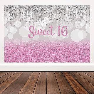 Bellimas Pink Happy Birthday Sweet 16 Hintergrund Silber und Rotgold Bokeh Spot 16. Geburtstag Motto Mädchen Party Dekorationen Hintergrund Photobooth Banner 1,8 x 1,2 m