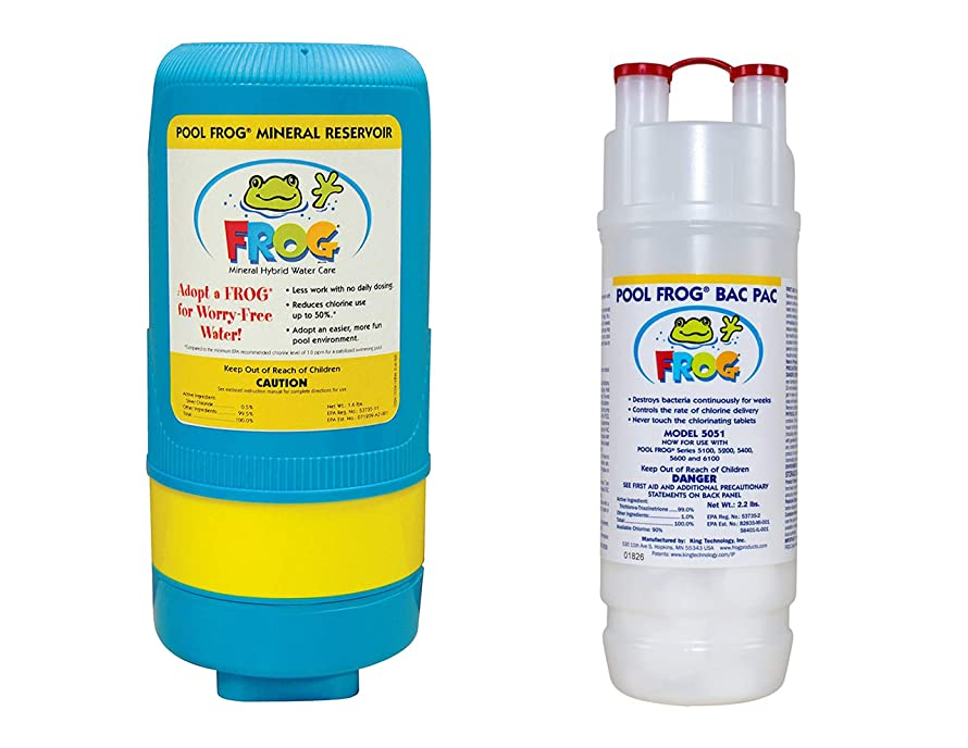 King Technology 5400 Mineral Reservoir Cartridge & Pool Frog Chlorine Bac Pac - Up to 40,000 Gallons